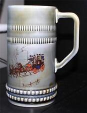 """Vintage WADE Irish Porcelain Tankard Gray/Blue PASSANGER COACH 6 1/2""""h Mug/Stain"""