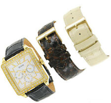 NEW GUESS GOLD LADY WATCH TAN BLACK PYTHON LEATHER STRAP DATE GIFT BOX W15057L1