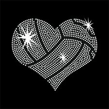 Volleyball style Heart rhinestone transfer - Iron on - 2 color