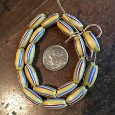 Antique Venetian Drawn Melon Beads With Stripes Yellow
