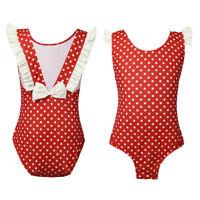 Madchen Bademode Bikini Einteiler Strandkleidung UV-Schutz Badeanzug Punkte Rot
