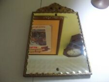"""AntiqueEtched Mirror Scalloped Edged Mirror Carved Wood Frame 13x17"""""""