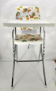 Vintage Cosco High Chair Folding Metal Baby Vinyl Tray Retro Floral Mouse White