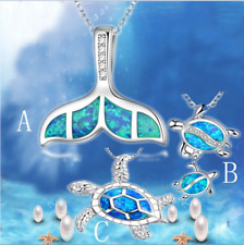 Silver Blue Opal Sea Turtle Cutout Pendant Necklace Sweater Chain Jewelry Gift