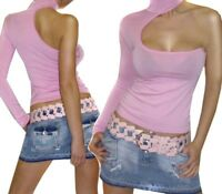 Haut Top une Seule Manche ROSE NEUF Taille 36 38 40 Col Montant Fashion Tendance