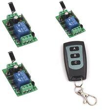 Corriente directa 12V 1CH control remoto inalámbrico 3-key remoto Interruptor de encendido y apagado transmisor receptor +3