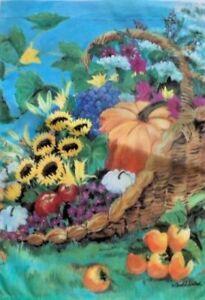 """Harvest Basket Garden Flag by Toland, 12"""" x 18"""", #1514, Mums, Pumpkin, Last One"""