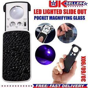 Pocket LED Lighted Magnifying Glass 30/60/90X Multi Power Portable UV Light