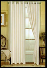 "2 MIRA PANEL IVORY OFF WHITE WINDOW  FAUX SILK  GROMMET CURTAIN 63"" LENGTH"
