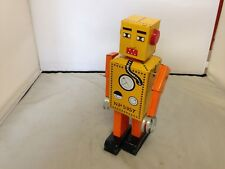 "Schylling Wind Up Robot ""Lilliput"" Tin Toy Yellow Walking Robot N.P. 5357"
