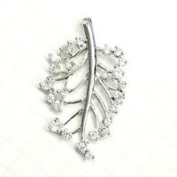 WINTER ICE LEAF PENDANT with Cubic Zirconia Stones .925 STERLING SILVER