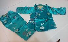 Baby Toddler ORIENTAL Satin Kimono Top Long Sleeve Pajama Set sz 16 months