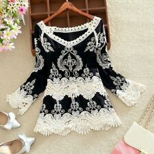 Fashion Womens Lady Summer Long Sleeve Casual Blouse Lace Loose Tee Tops T Shirt