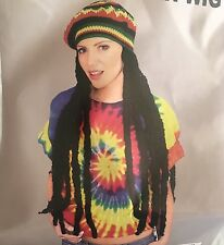 Bob Marley Jamaican Rasta Beanie Hat With Dreadlocks Wig Fancy Dress
