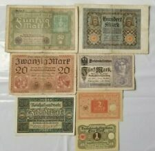 GERMANY SET OF 7 BANKNOTES 1 - 100 MARKS FROM 1917 - 1920 XF - UNC RARE SET