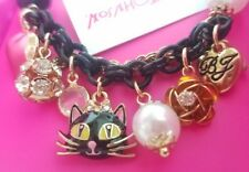 Betsey Johnson Black Cat Pearl Gold Charm Bauble Chain Bracelet Hearts Valentine