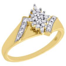 10K Yellow Gold Diamond Marquise Cluster Ladies Right Hand Cocktail Ring 0.10 Ct