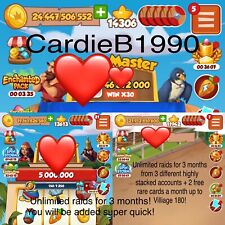 3 Accounts - Coin Master Big Raids 3 Months + 2 FREE rare cards a month!