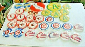 32-VINTAGE BASE BALL PINBACK PIN COLLECTION:CUBS,A'S,ANGELS,ORIOLES,CARDINALS