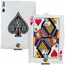 "30"" Queen of Hearts Ace of Spades Helium Foil Balloon Cards Casino Party Fun"