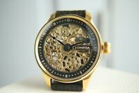 GOLD SKELETON Vintage 1912`s Handicraft Engraved Marriage New Cased Swiss Watch