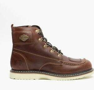 Harley Davidson HAGERMAN CE Mens Autumn Winter Zip Up Leather Ankle Boots Rust