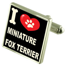 I Love My Dog Sterling Silver 925 Cufflinks Miniature Fox Terrier