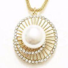 Large White Akoya Pearl Round Diamond Pendant Charm 14K Yellow Gold Jewelry