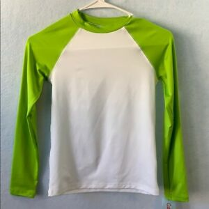 White/Lime Green Swim Rashguard Top