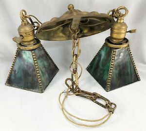 Antique Hanging Chained Double Light Fixture Green Swirled Stained Glass