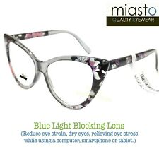 MIASTO BIG CAT EYE COMPUTER READER READING GLASSES +1.00 FLORAL~ ANTI-BLUE LIGHT