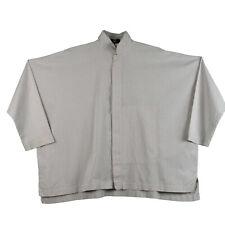 Eskandar Size 0 Oversized Boxy Button Down Shirt White/Purple Pinstripes Cotton