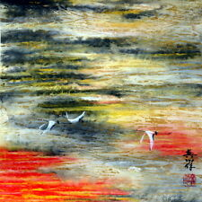 """Chinese painting landscape crane 16x16"""" brush watercolor contemporary modern art"""