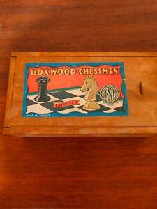 Vintage TSL BOXWOOD CHESSMEN Ebonised Wood Chess Set In Box Made In France