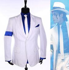 MJ Michael Jackson Stripe Classic Smooth Criminal Costume Suit Shirt Tie Hat
