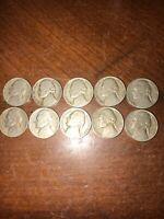 (10) 1947 D Jefferson Nickels