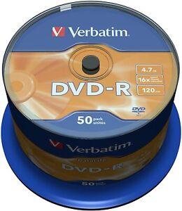 1x50 Verbatim DVD-R Rohlinge WriteOnce 4.7GB 120min 16x Cakebox43814 NEU 003-001