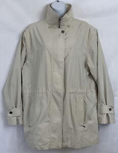 London Fog Tan Rain Coat Size L Drawstring Waist Zip Up Snap Placard Zip Pockets