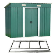 Panana 8x4ft Garden Shed Metal Pent Roof Outdoor Tool Storage With Free Base