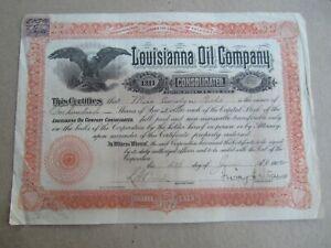 Old Vintage 1902 - LOUISIANA OIL Company - Stock Certificate - ARIZONA