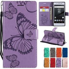For Sony Xperia Phone Flip Wallet 3D Butterfly Leather Case Cover Wrist Strap
