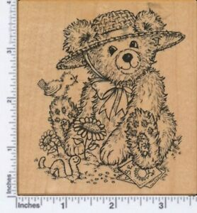"""PSX K-2649 """"BEA IN THE GARDEN""""  TEDDY BEAR SOWING SEEDS Rubber Stamp"""
