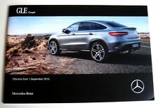 Mercedes . GLE Coupe . GLE Coupe Price List . September 2015 Sales Brochure