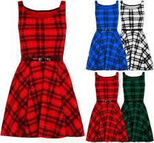 Womens Sleeveles Belted Tartan Checked Flared Franki New Skater Dress Top 8-26