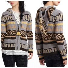 ANTHROPOLOGIE Hooded Fairisle Cardigan Sweater by Sparrow Gray Brown Gold M