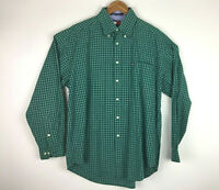 Tommy Hilfiger Men's Large Shirt Green & White Checks Long Sleeve Button Down