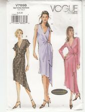 Dress Wrap Side Tie Sleeves Designed for Knits Vogue Sewing Pattern 7898 Sz 6-10