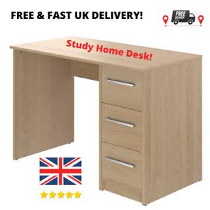 NEW 3-Drawer Computer Study Work Desk, 56 x 110 x 73.5cm, Light Brown/Beech