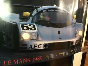 """RARE VINTAGE MERCEDES LE MANS 1989 RACING POSTER LARGE 36""""x24"""" EXCELLENT COND."""