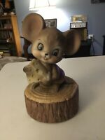 """VINTAGE BERMAN & ANDERSON MUSIC BOX MOUSE W/ CHEESE """"LIFE IS A CABARET"""""""